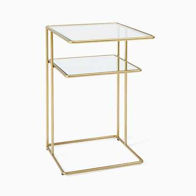 Curved Terrace Storage C-Nightstand, Antique Brass, set of 2 - West Elm