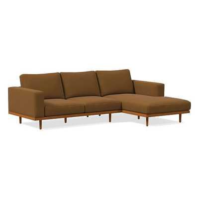 Newport Boxed Cushion 2.5-Seat Left Arm 2-Piece Chaise Sectional, Distressed Velvet, Golden Oak, Pecan - West Elm