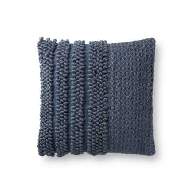 "Magnolia Home by Joanna Gaines PILLOWS P1104 NAVY 18"" x 18"" Cover w/Down - Magnolia Home by Joana Gaines Crafted by Loloi Rugs"