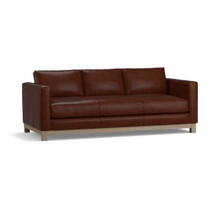 "Jake Leather Loveseat 70"" with Wood Legs, Down Blend Wrapped Cushions, Vintage Camel - Pottery Barn"