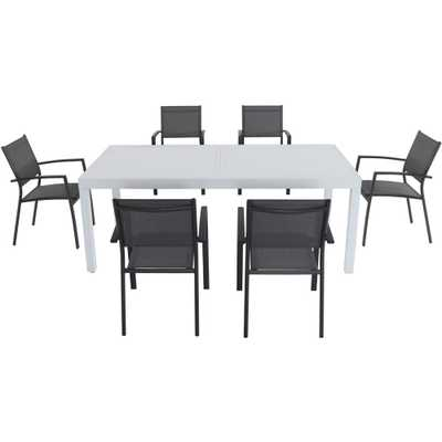 Cambridge Palermo 7-Piece Aluminum Outdoor Dining Set with 6-Sling Chairs in Gray and a 40 in. x 118 in. Expandable Dining Table - Home Depot