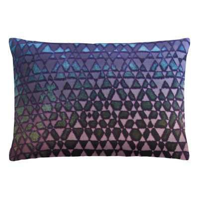 "Kevin O'Brien Studio Triangles Velvet Geometric Lumbar Pillow Color: Peacock, Size: 14"" x 20"" - Perigold"