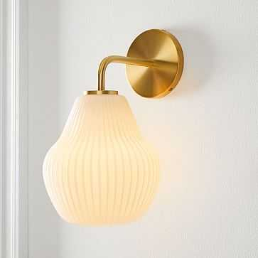 Sculptural Glass Sconce, Small Canned, Champagne + Antique Brass - West Elm