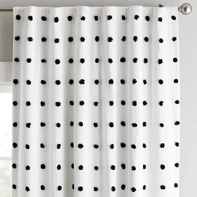 Tufted Dot Blackout Curtain Panel, 96, Black - Pottery Barn Teen