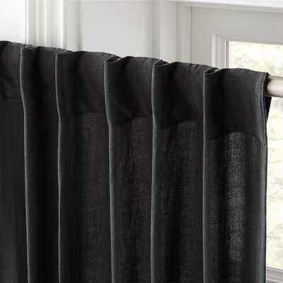 "Heavyweight Charcoal Linen Curtain Panel 48""x84"" - CB2"