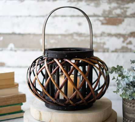 """Round Willow Lantern With Wooden Handle, Small, 11.75""""W - Pottery Barn"""