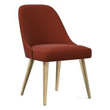 Mid-Century Upholstered Dining Chair, Distressed Velvet, Rust, Blackened Brass - West Elm