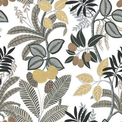 RoomMates 28.29 sq ft Funky Jungle Peel and Stick Wallpaper, white/ yellow - Home Depot