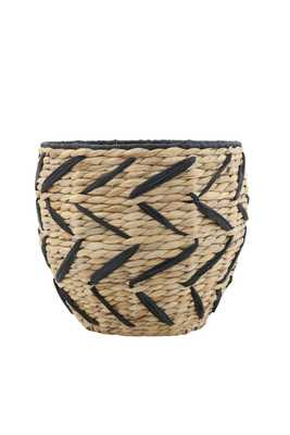 Woven Seagrass Basket with Black Design & Rim - Moss & Wilder