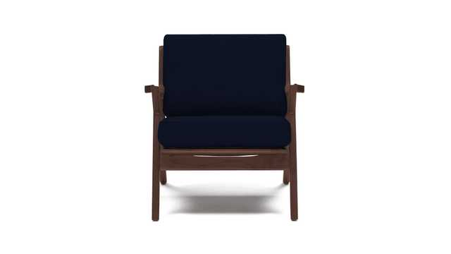 Blue Soto Mid Century Modern Concave Arm Chair - Bentley Indigo - Walnut - Joybird