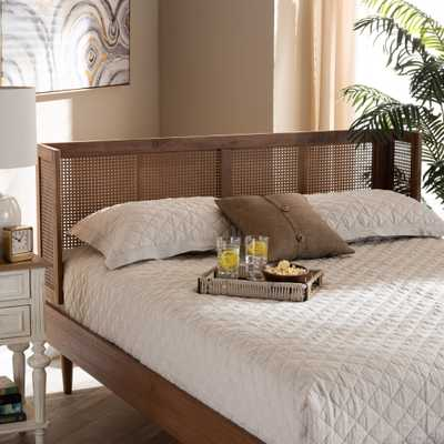 Baxton Studio Rina Mid-Century Modern Ash Wanut Finished Wood and Synthetic Rattan King Size Wrap-Around Headboard - Lark Interiors