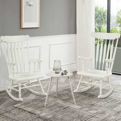 Set Of 2 Wood Rocking Chair Porch Rocker Indoor Outdoor Seat Glossy Finish Coffe - Wayfair