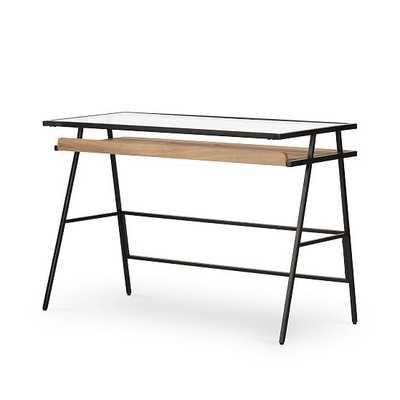 Mondrian Desk, Honey & Gunmetal - West Elm