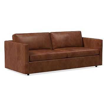 "Harris 86"" Sofa, Poly, Weston Leather, Molasses - West Elm"