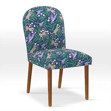 Round Back Dining Chair, Print, Kanpur Navy - West Elm