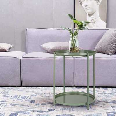 Tray Metal End Table Small Round Side Tables Outdoor & Indoor Table - Wayfair