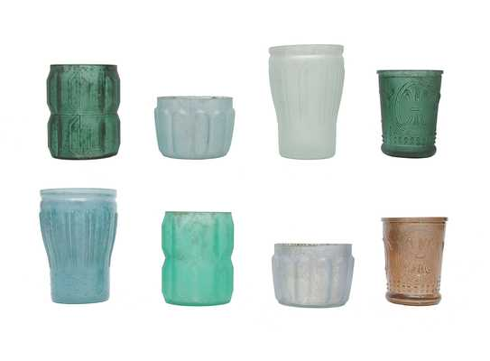 Set of 8 Mercury Glass Votive Holders in Blues and Greens - Nomad Home