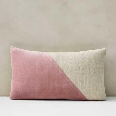 "Cotton Linen + Velvet Lumbar Pillow Cover with Down Alternative Insert, Pink Stone, 12""x21"" - West Elm"