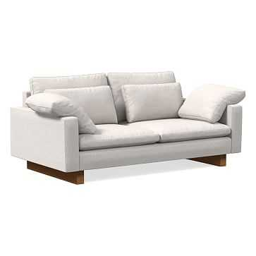 Harmony Sofa, Performance Coastal Linen, Stone White, Dark Walnut - West Elm