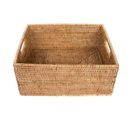 Summerville Handwoven Rattan Rectangular Storage Basket, Medium, Natural - Pottery Barn