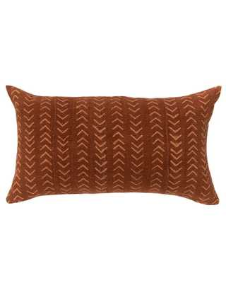 arrows mud cloth lumbar pillow in faded rust - with insert - PillowPia