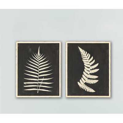 'Linen Fern II S/2' by Vision Studio - 2 Piece Picture Frame Print Set on Paper - Birch Lane