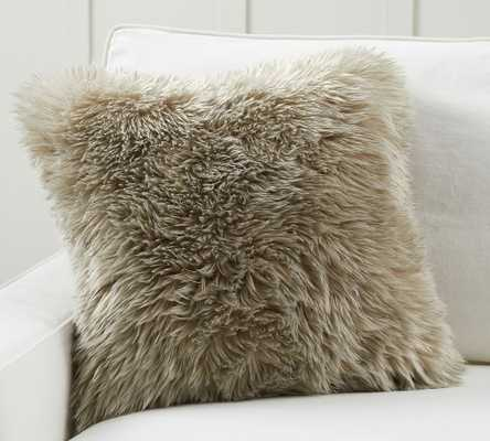 """Faux Real Fur Pillow Cover, 20 x 20"""", Olive - Pottery Barn"""