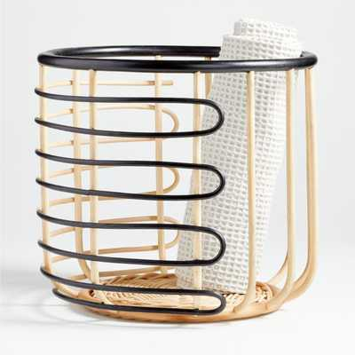 Black and Natural Open Rattan Basket - Crate and Barrel