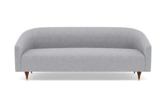 Tegan Sofa with Grey Gris Fabric and Oiled Walnut with Brass Cap legs - Interior Define
