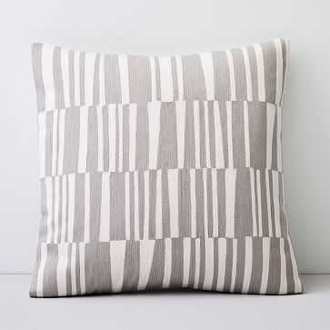 "Crewel Linear Pillow Cover, Frost Gray, 24""x24"" - West Elm"