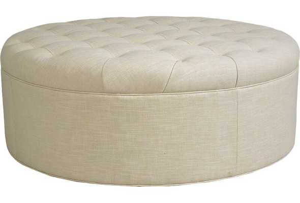 "CR Laine Columbus 49"" Tufted Round Ottoman Body Fabric: Bleeker Onyx - Perigold"