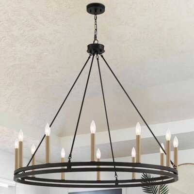 12 - Light Candle Style Wagon Wheel Chandelier - Wayfair