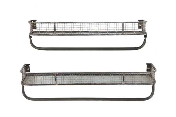 Metal Wall Shelves with Hanging Bar (Set of 2 Sizes) - Nomad Home