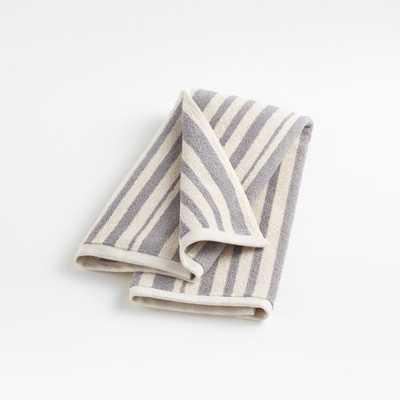 Elmont Slate Stripe Hand Towel - Crate and Barrel