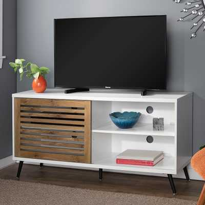 """Larisa 52"""" Wide White and Barnwood 1-Door TV Stand - Style # 90M89 - Lamps Plus"""