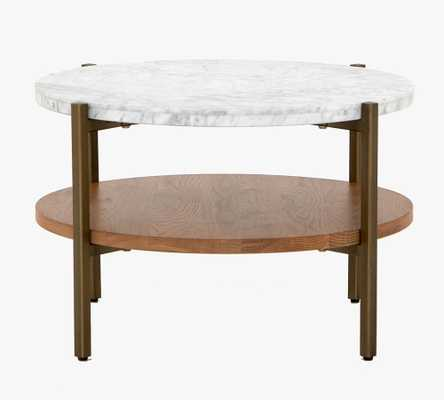 Modern Marble Round Coffee Table, Natural Oak & Golden Brass - Pottery Barn