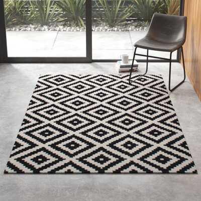 Obadiah Geometric Handmade Tufted Wool Black Area Rug - AllModern