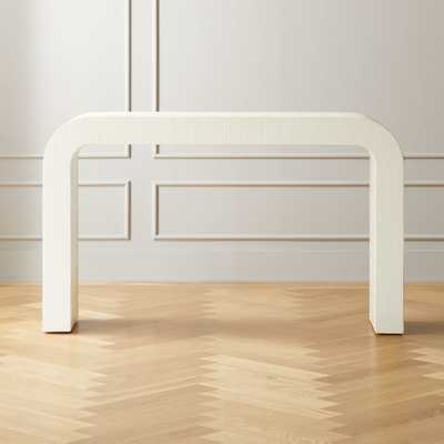 Horseshoe White Lacquered Linen Console Table - CB2
