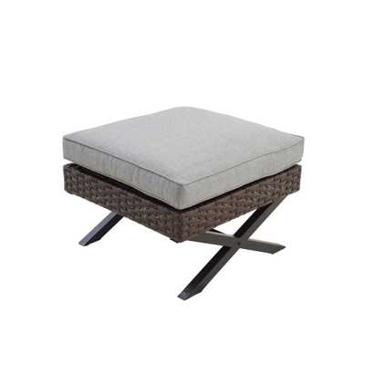Patio Festival Wicker Outdoor Ottoman with Gray Cushion - Home Depot