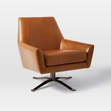 Lucas Swivel Base Leather Chair, Poly, Vegan Leather, Saddle, Polished Nickel - West Elm