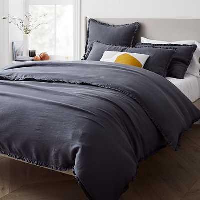 European Linen Ruffle Duvet, Full/Queen Duvet Cover, Anchor Gray - West Elm