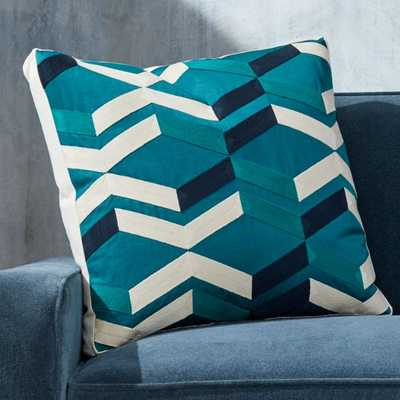 """Pattern Teal Box Pillow with Feather-Down Insert 20"""" - Crate and Barrel"""
