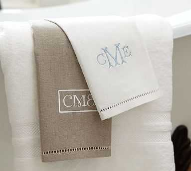Linen Hemstitch Guest Towels, Set of 2, Monogram - Pottery Barn