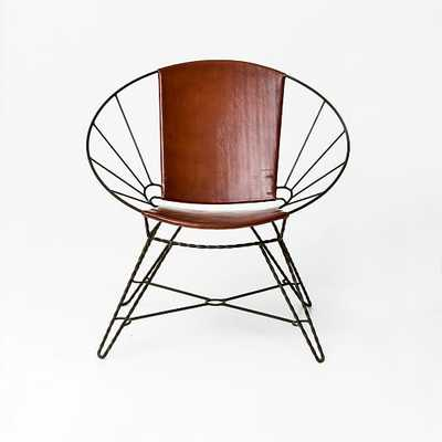 Sculpted Metal + Leather Bowl Chair - West Elm