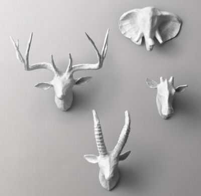 petite papier-mâché animal heads - set of 4 - RH Baby & Child