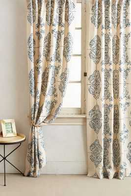 "Embroidered Medina Curtain - Blue, 84""L - Anthropologie"