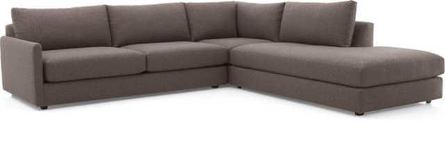 Drake 3-Piece Sectional Sofa- Gravel - Crate and Barrel