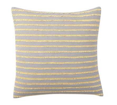 "Fringe Stripe 18"" sq. GRAY/YELLOW Pillow Cover, no insert - Pottery Barn"
