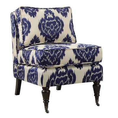 Cassidy Indigo Ikat Armless Chair - Overstock