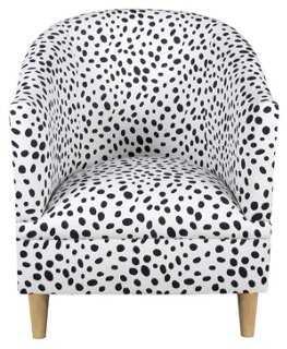 Ashlee Tub Chair, Black Dots - One Kings Lane